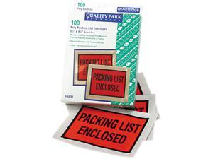 Quality Park 46895 Full-Print Self-Adhesive Packing List Envelope, Orange, 5 1/2 x 4 1/2, 100/Box