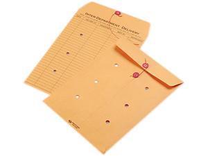 Quality Park 63462 Light Brown Kraft String & Button Interoffice Envelope, 9 x 12, 100/Carton