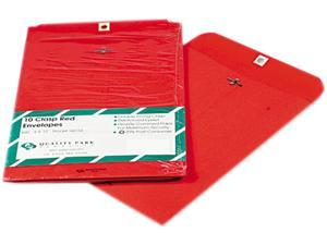 Quality Park 38734 Fashion Color Clasp Envelope, 9 x 12, 28lb, Red, 10/Pack