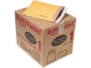 Sealed Air 85922 Jiffy Padded Self-Seal Mailer, #1, 7 1/4 x 12, Golden Brown, 100/Carton