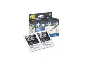 PhoneKleen Wet Wipes, Cloth, 5 x 5, 18/Box