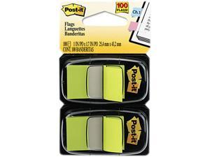 Post-it Flags 680-BG2 Standard Tape Flags in Dispenser, Bright Green, 100 Flags/Dispenser
