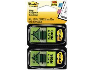 "Post-it Flags 680-SD2 Arrow Message 1"" Flags, ""Sign and Date"", Green, 2 50-Flag Dispensers/Pack"