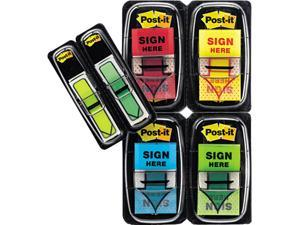 "Post-it Flags 680-SH4VA Flags in Dispenser, 200 ""Sign Here"", 48 Arrow Flags, Four Colors, 248/Pack"