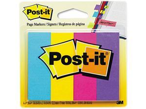 Post-it Page Markers 671-4AU Page Markers, Four Ultra Colors, Four Pads of 50 Strips Each