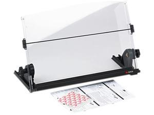 3M DH630 In-Line Adjustable Desktop Copyholder, Plastic, 150 Sheet Capacity, Black/Clear