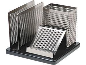 Rolodex E23552 Distinctions Desk Organizer, Metal/Wood, 5 7/8 x 5 7/8 x 4 1/2, Black/Silver