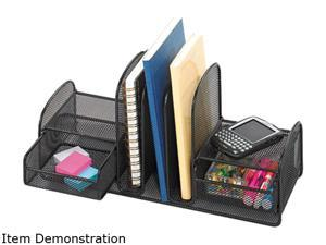 Safco 3263BL Onyx Mesh Desk Organizer, Three Sections/Two Baskets, 17 x 6 3/4 x 7, Black