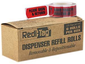 """Redi-Tag 91037 Message Arrow Flag Refills, """"Please Sign & Return"""", Red, 6 Rolls of 120 Flags"""