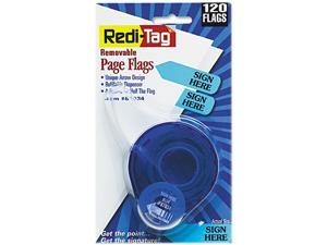 """Redi-Tag 81034 Arrow Message Page Flags in Dispenser, """"Sign Here"""", Blue, 120 Flags/Dispenser"""