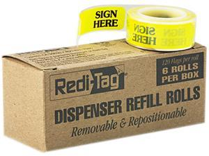 """Redi-Tag 91001 Message Right Arrow Flag Refills, """"Sign Here"""", Yellow, 6 Rolls of 120 Flags"""