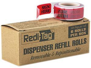 "Redi-Tag 91002 Message Right Arrow Flag Refills, ""Sign Here"", Red, 6 Rolls of 120 Flags/Box"