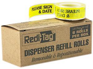 "Redi-Tag 91032 Message Arrow Flag Refills, ""Please Sign & Date"", Yellow, 6 Rolls of 120 Flags"