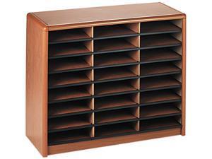 Safco 7111MO Steel/Fiberboard Literature Sorter, 24 Sections, 32 1/4 x 13 1/2 x 25 3/4, Oak