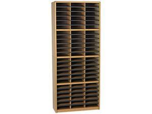 Safco 7131MO Steel/Fiberboard Literature Sorter, 72 Sections, 32 1/4 x 13 1/2 x 75, Med Oak