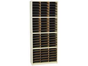 Steel/Fiberboard Literature Sorter, 72 Sections, 32 1/4 x 13 1/2 x 75, Sand