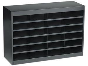 Safco 9211BLR Steel/Fiberboard E-Z Stor Sorter, 24 Sections, 37 1/2 x 12 3/4 x 25 3/4, Black