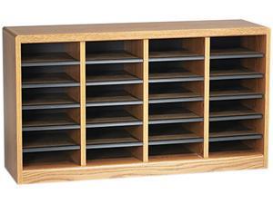 Safco 9311MO Wood/Fiberboard E-Z Stor Sorter, 24 Sections, 40 x 11 3/4 x 23, Medium Oak
