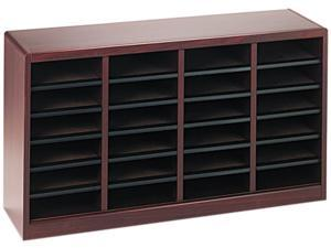 Safco 9311MH Wood/Fiberboard E-Z Stor Sorter, 24 Sections, 40 x 11 3/4 x 23, Mahogany
