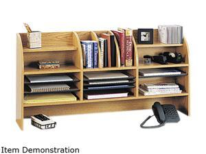 Safco 9415MO Radius Front Organizer, 16 Sections, 47 1/2 x 9 5/8 x 23 3/4, Medium Oak