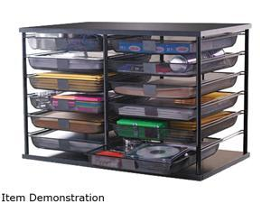 Rubbermaid 1735746 12-Compartment Organizer with Mesh Drawers, 29 1/8 x 7 1/8 x 16 3/8, Black