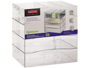 Rubbermaid 94600ROS Optimizers Four-Way Organizer with Drawers, Plastic, 13 1/4 x 13 1/4 x 10, Clear
