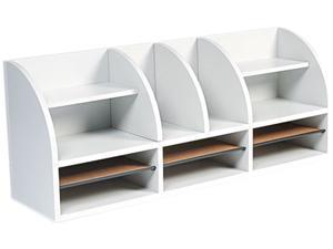 Safco 9411GR Radius Front Desktop Organizer, 12 Sections, 38 1/2 x 9 5/8 x 15 1/4, Gray