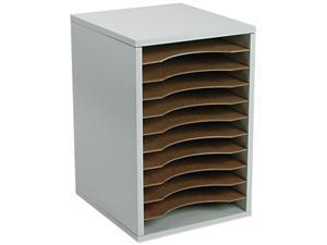 Safco 9419GR Wood Vertical Desktop Literature Sorter, 11 Sections 10 5/8 x 11 7/8 x 16, Gray