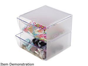 deflect-o 2 Drawer Cube Organizer, Clear Plastic, 6 x 6 x 7 7/25