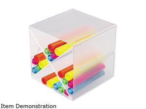 deflect-o Desk Cube w/X Dividers, Clear Plastic, 6 x 6 x 6