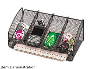 Safco Metal Mesh Desk Organizer, Black, 5 Sections, 12 1/4 x 6 1/4 x 4 1/2