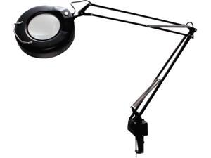 "Ledu L745BK Clamp-On Fluorescent Swing Arm Magnifier Lamp, 5"" Lens, 38-1/2"" Reach, Black"