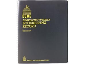 Dome 600 Bookkeeping Record, Black Vinyl Cover, 128 Pages, 8 1/2 x 11 Pages