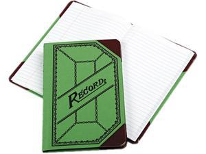Boorum & Pease 667-R Miniature Account Book, Green/Red Canvas Cover, 208 Pages, 9 1/2 x 6