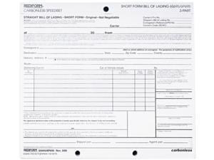 Rediform 6P695 Bill of Lading, Short Form, 8-1/2 x 7, Three-Part, 50 Loose Form Sets/Pack