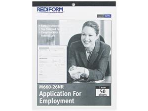 Rediform M660-26NR Employment Application, 8-1/2 x 11, 50 Forms