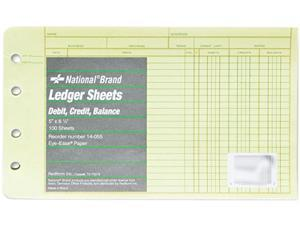 National Brand 14-055 Extra Sheets for Four-Ring Ledger Binder, 8-1/2 x 5-1/2, 100/Pack