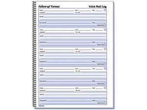 Rediform 51114 Voice Mail Wirebound Log Books, 8 x 10-5/8, 500 Sets/Book