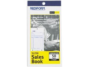 Rediform 5L250 Sales Book, 3-5/8 x 6 3/8, Carbonless Triplicate, 50 Sets/Book
