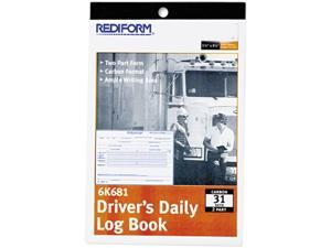 Rediform 6K681 Driver's Daily Log, 5-1/2 x 7-7/8, Duplicate with Carbons, 31 Sets/Book