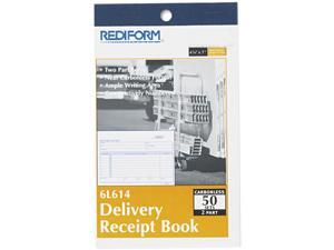 Rediform 6L614 Delivery Receipt Book, 6-3/8 x 4-1/4, Two-Part Carbonless, 50 Sets/Book