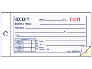 Rediform 8L820 Small Money Receipt Book, 5 x 2-3/4, Carbonless Duplicate, 50 Sets/Book
