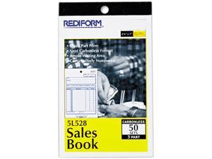Rediform 5L528 Sales Book, 4-1/4 x 6 3/8, Carbonless Triplicate, 50 Sets/Book