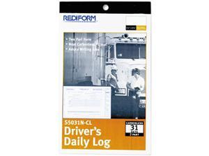 Rediform S5031N-CL Driver's Daily Log, 5-3/8 x 8-3/4, Carbonless Duplicate, 31 Sets/Book