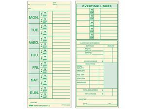 Tops 1291 Time Card for Pyramid Model 331-10, Weekly, Two-Sided, 3-1/2 x 8-1/2, 500/Box