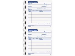 Tops 4147 Spiralbound Receiving Record Book, 5 x 5-1/2, Two-Part Carbonless, 100 Sets/Book