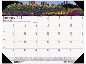 House Of Doolittle 1746 Gardens of the World Photographic Monthly Desk Pad Calendar, 18-1/2 x 13
