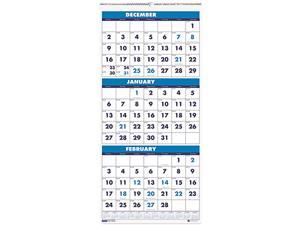 House of Doolittle™ Three-Month Format Wall Calendar, 12-1/4 x 27