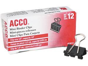 """Acco 72010 Mini Binder Clips, Steel Wire, 1/4"""" Cap., 1/2""""w, Black/Silver, Dozen"""