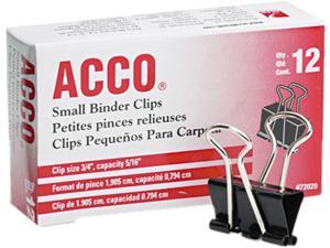 "Acco 72020 Small Binder Clips, Steel Wire, 5/16"" Cap., 3/4""w, Black/Silver, Dozen"